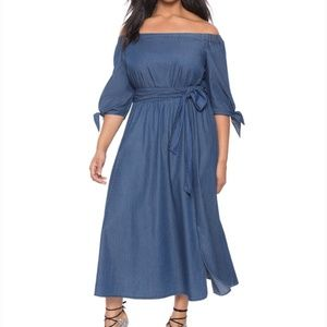 Eloquii Studio Off the Shoulder Chambray Dress